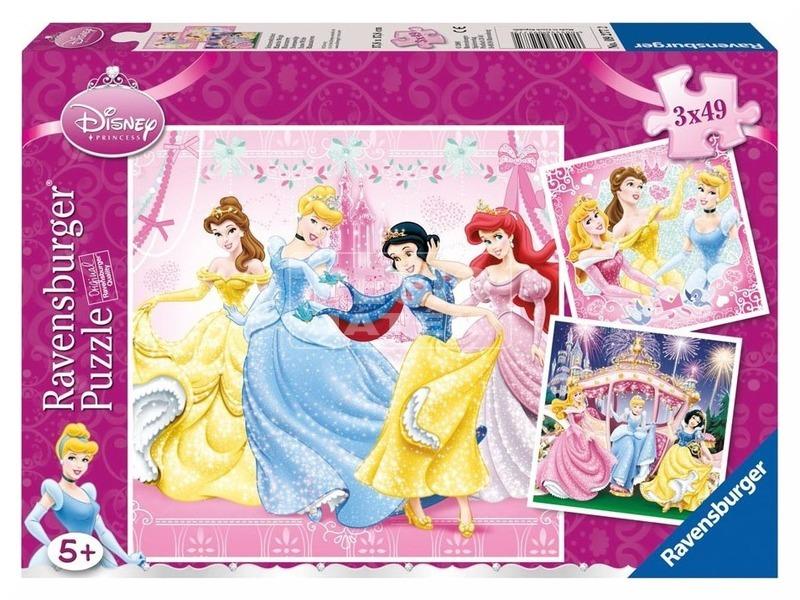 Disney hercegnők 3 x 49 darabos puzzle