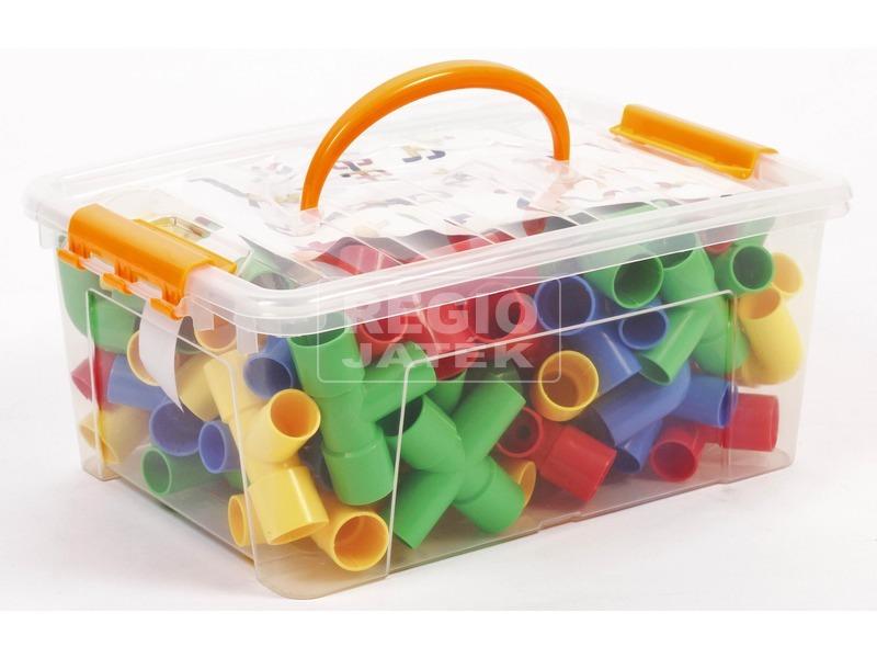 Műanyag 20 darabos építőjáték csövekkel