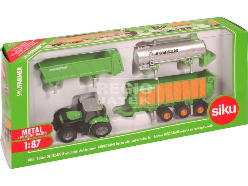 SIKU: Deutz-Fahr traktor Joskin utánfutókkal 1:87