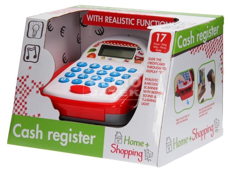 Pénztárgép fénnyel és hanggal - fehér-piros