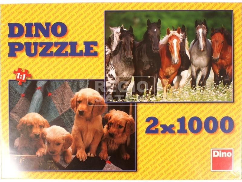 Kutyák és lovak 2 x 1000 darabos puzzle