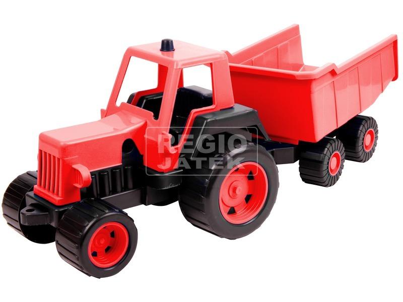 Műanyag traktor utánfutóval 68 cm - többféle