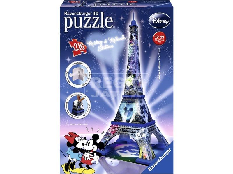Mikiegér és Minnie egér az Eiffel-tornyon 216 darabos 3D puzzle