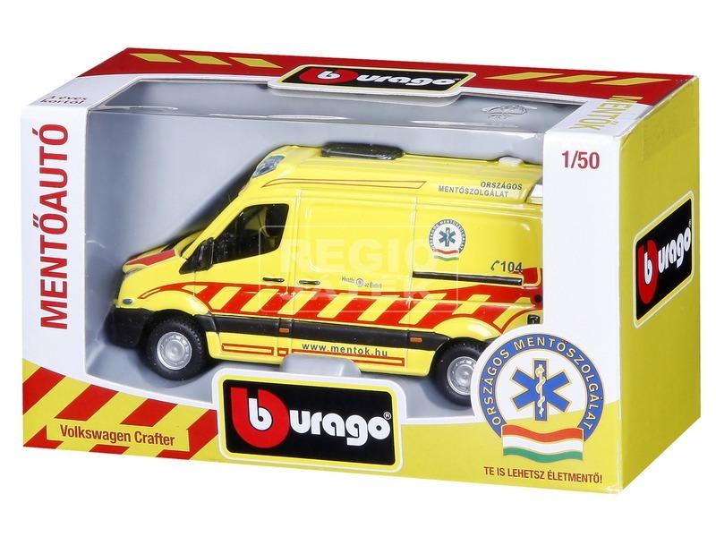 kép nagyítása Bburago Volkswagen Crafter magyar mentőautó 1:50