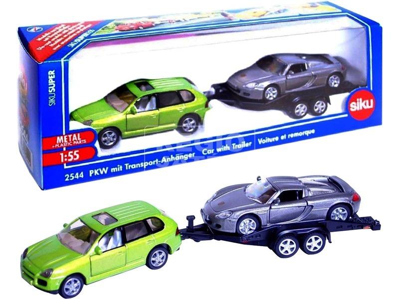 kép nagyítása Siku: Fém autó trélerrel 1:55 - többféle