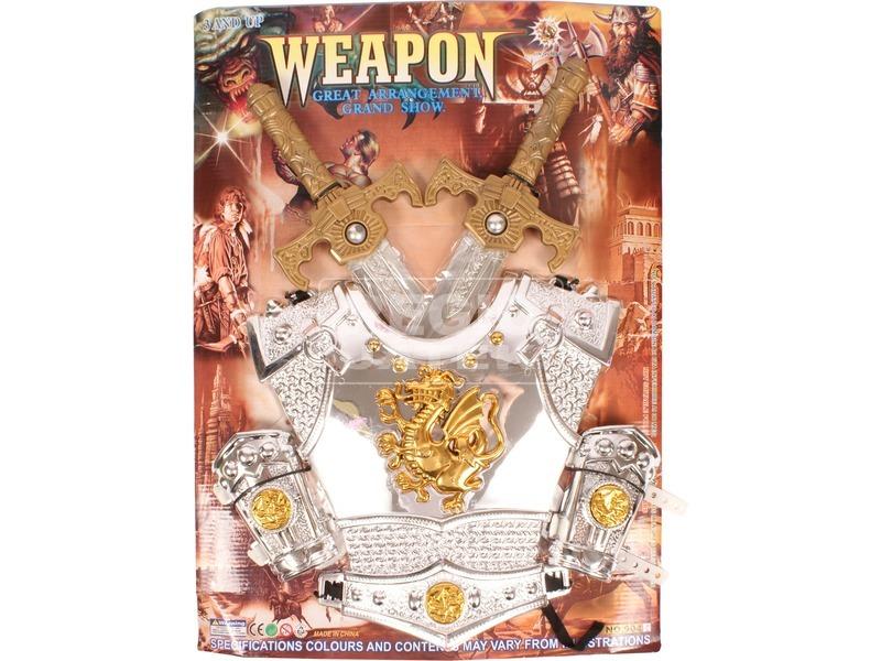 Páncél kardokkal lovagi fegyverkészlet