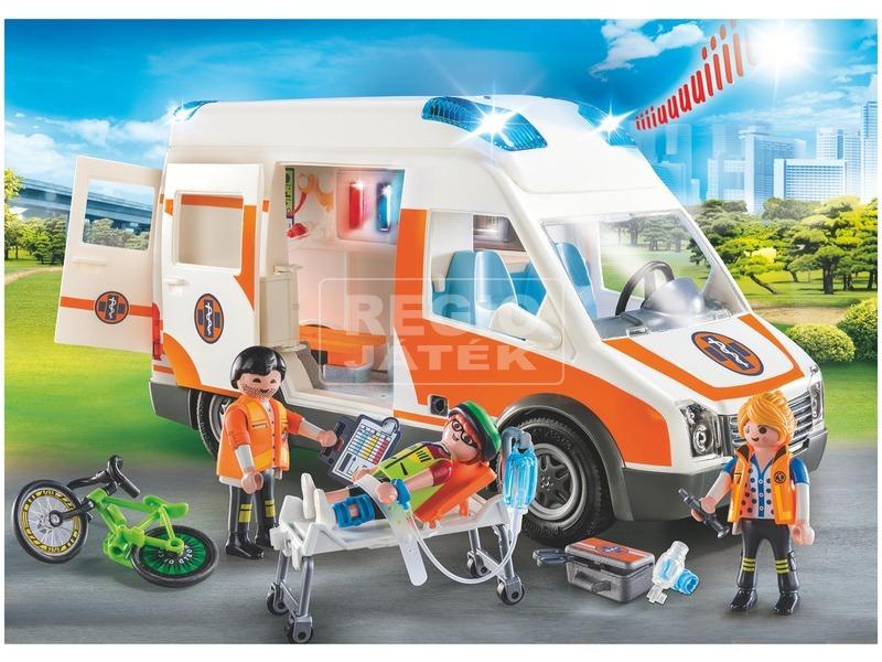 kép nagyítása Playmobil Mentőautó villogó fényekkel 70049