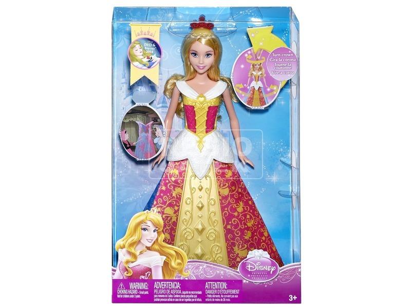 Disney hercegnők Csipkerózsika baba mágikus ruhában - 30 cm