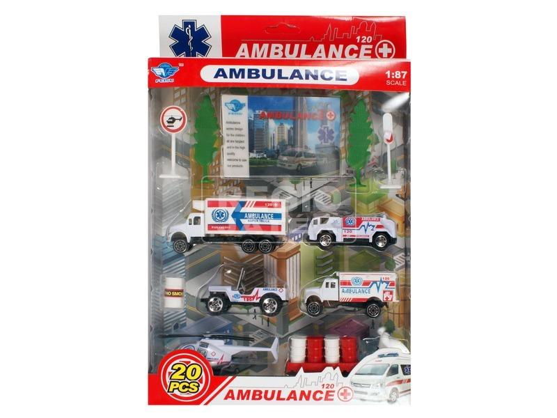 Fém mentőautó 20 darabos készlet - 1:87