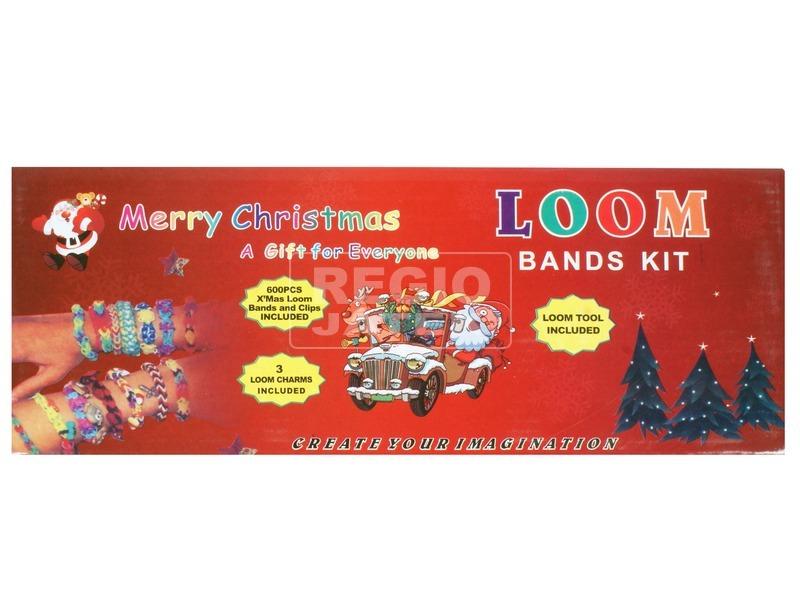 Karácsonyi gumikarkötő készítő készlet - kék dobozban