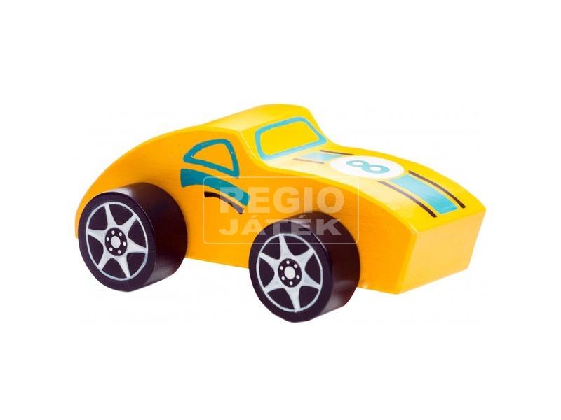 kép nagyítása Fa versenyautó - sárga
