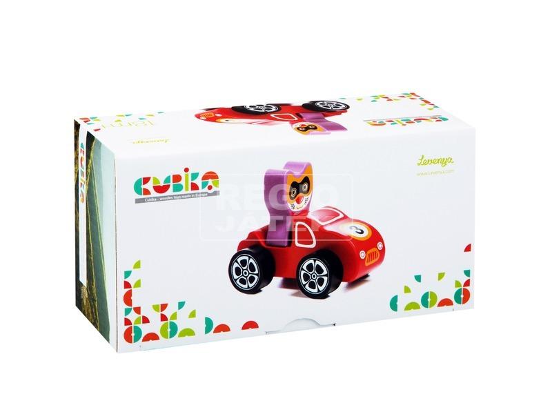 Fa autó cica sofőrrel - piros