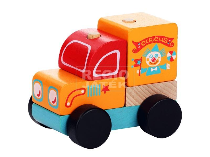 kép nagyítása Fa cirkuszi teherautó - narancssárga