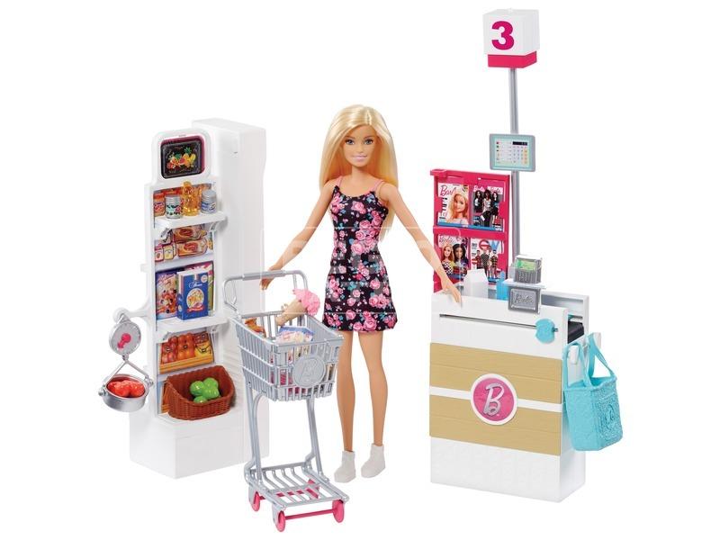 Barbie szupermarket babával készlet
