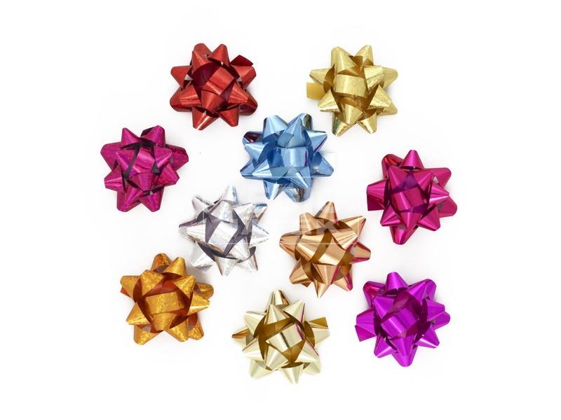 Csillag ajándékkísérő dísz - 5 cm, többféle
