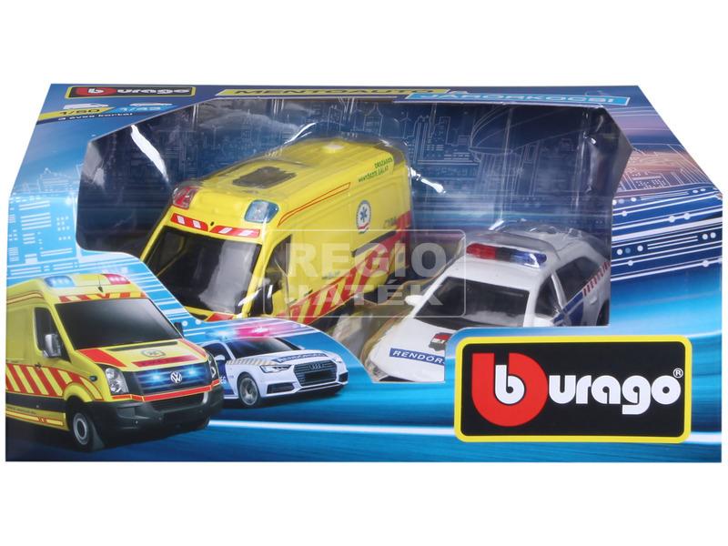 kép nagyítása Bburago magyar VW mentőautó és Audi A6 rendőrautó