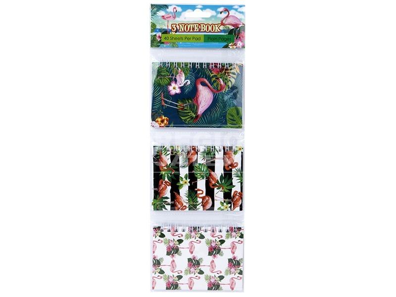 Flamingó jegyzetfüzet 3 darabos készlet - A7