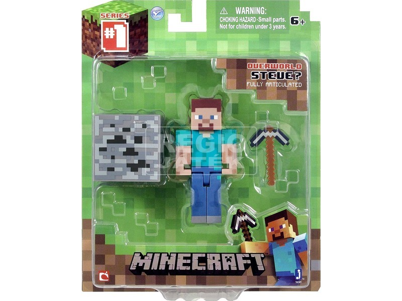 Minecraft Steve figura kiegészítőkkel - 7 cm