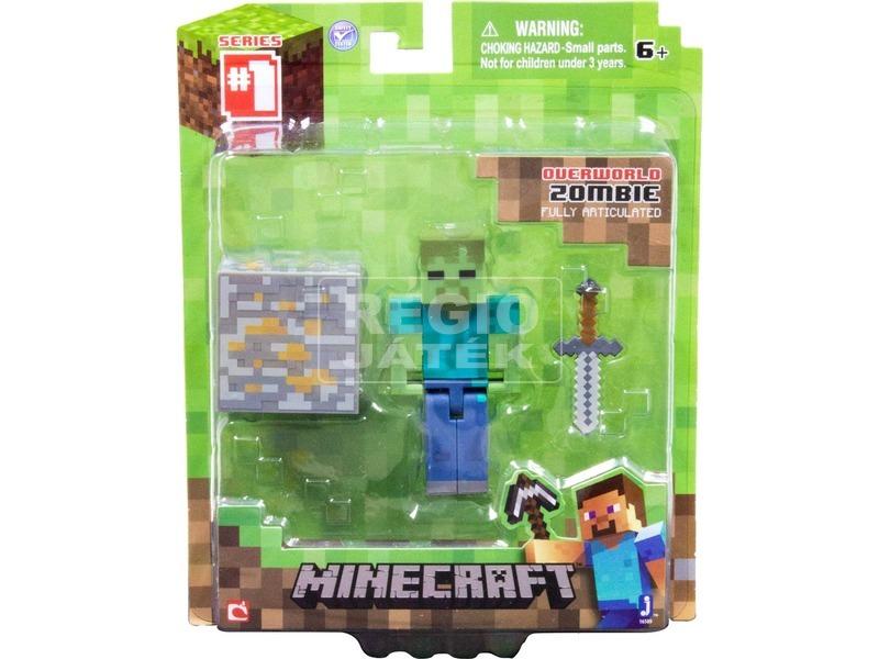Minecraft Zombie figura kiegészítőkkel - 8 cm