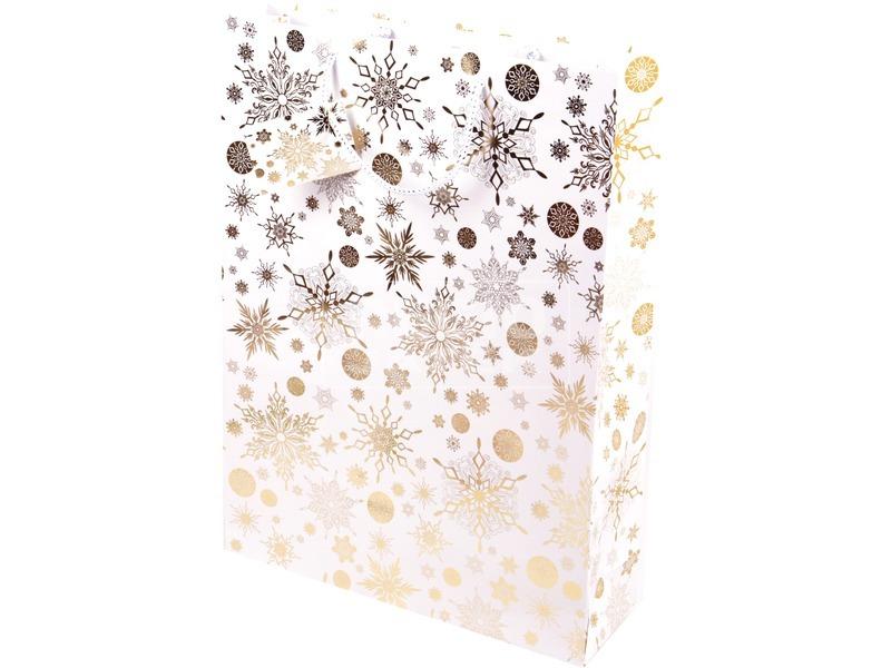 Aranyszínű hópihék ajándékzacskó - 33 x 46 cm