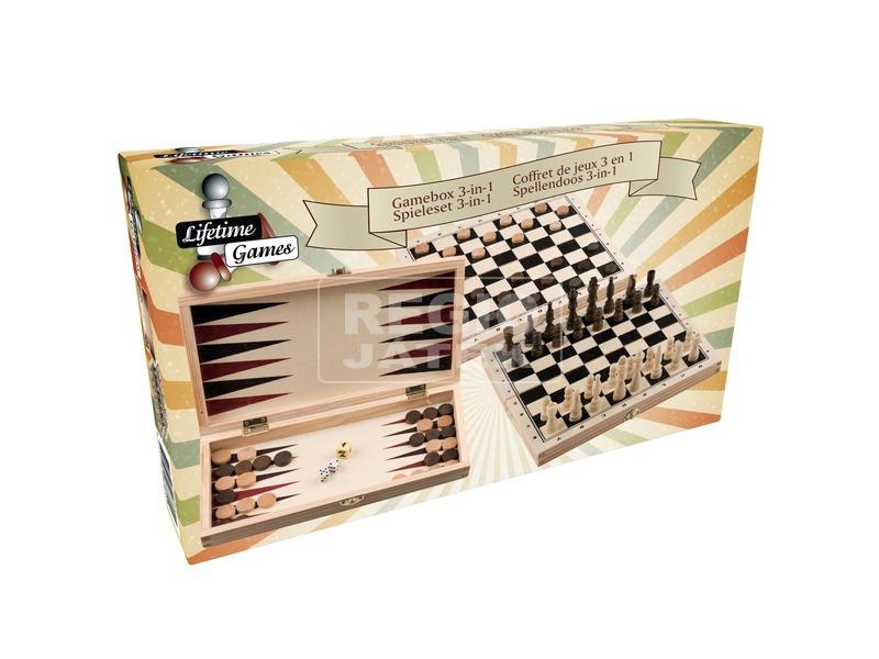 Fa sakk, dáma és backgammon készlet