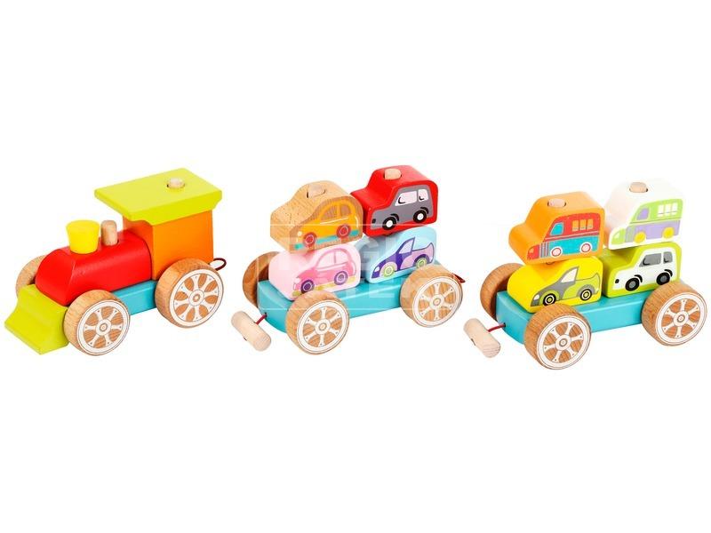Fa vonat kisautókkal