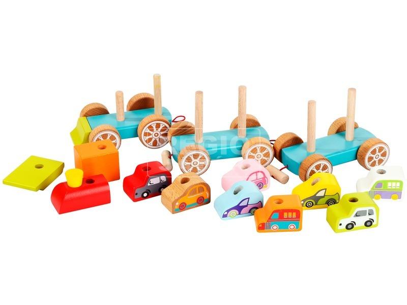 kép nagyítása Fa vonat kisautókkal