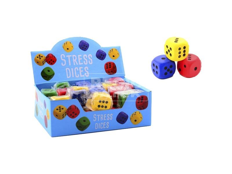 Stresszoldó puha dobókocka - 4 cm, többféle