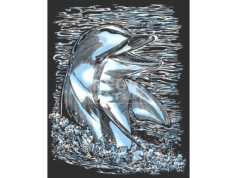 Ezüst képkarcoló-Delfin