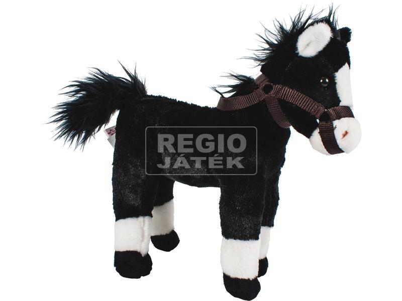 Ló plüssfigura hanggal - fekete, 28 cm