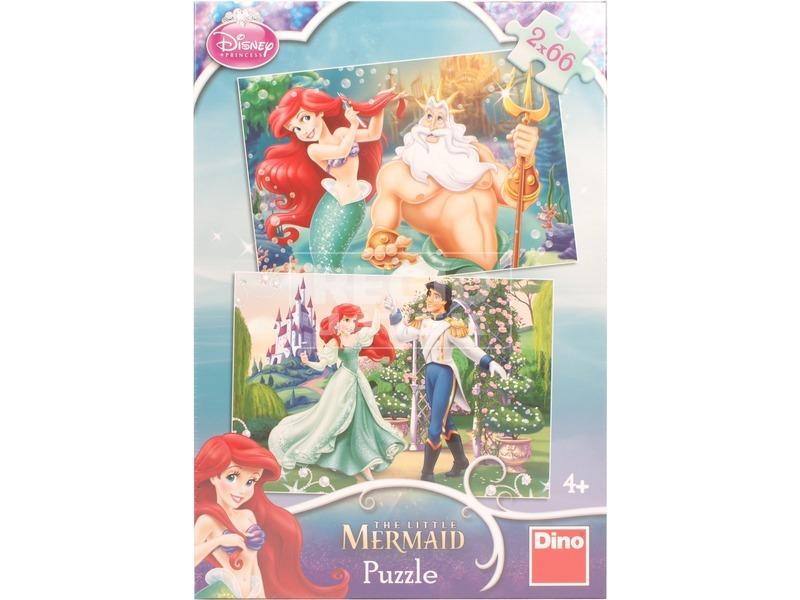 Disney hercegnők Ariel 2 x 66 darabos puzzle