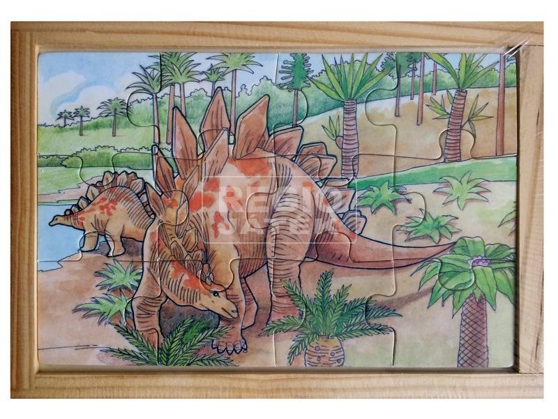 Dinoszaurusz 12 darabos fa puzzle