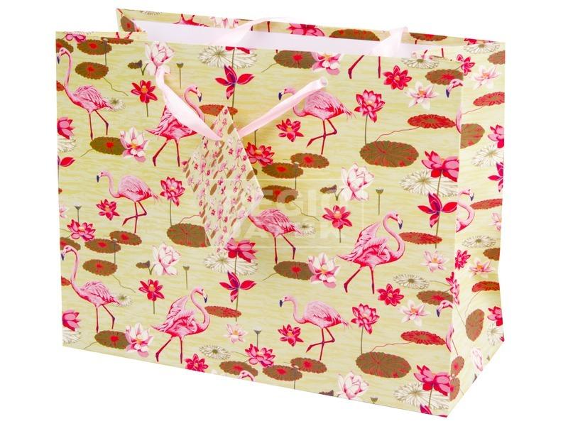 Flamingók ajándékzacskó - 18 x 23 cm.