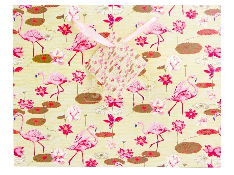 kép nagyítása Flamingók ajándékzacskó - 23 x 18 cm