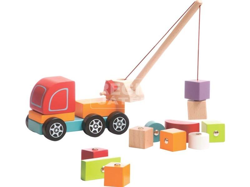 kép nagyítása Fa darus autó mágneses rakománnyal