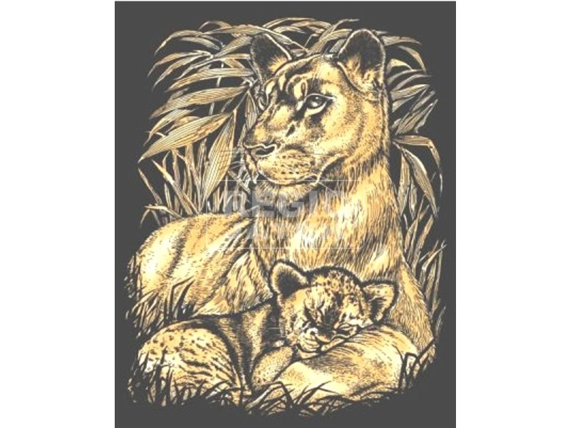Arany képkarcoló-Oroszlán a kölykével