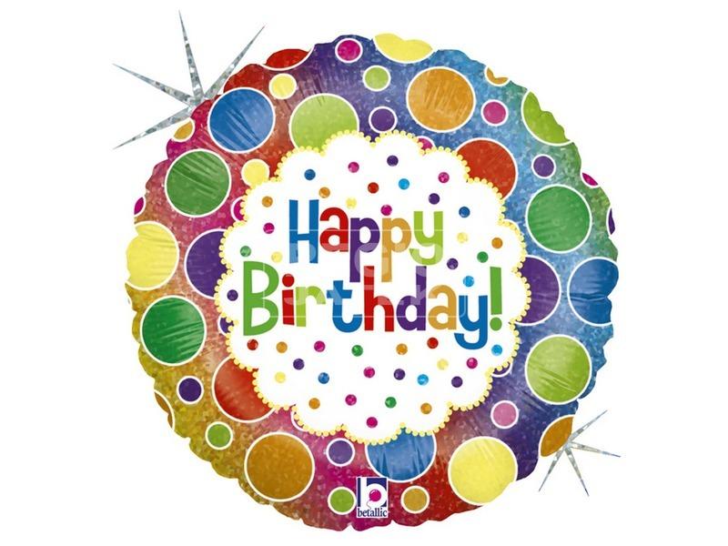 Happy Birthday szivárvány fólia lufi - 45 cm