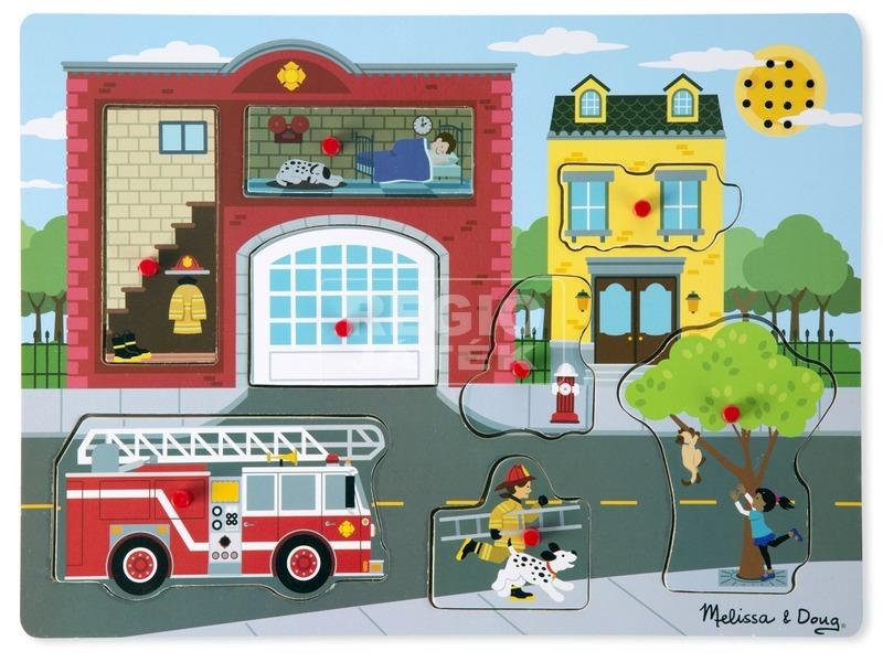 kép nagyítása Tűzoltóállomás 8 darabos puzzle hanggal