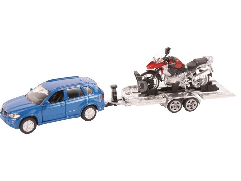 kép nagyítása Autó utánfutóval és motorral