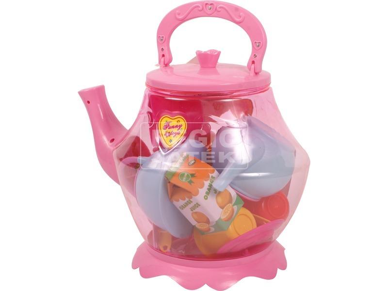 Műanyag 19 darabos teázó készlet kannában