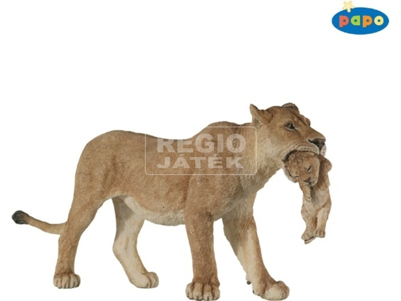 Papo nőstény oroszlán kölyökkel figura