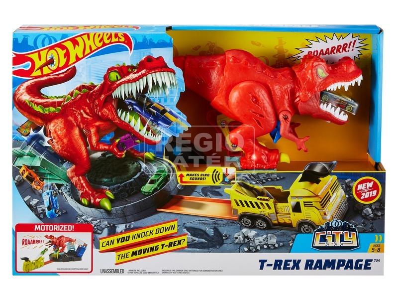 Hot Wheels - őrjöngő T-rex pályaszett