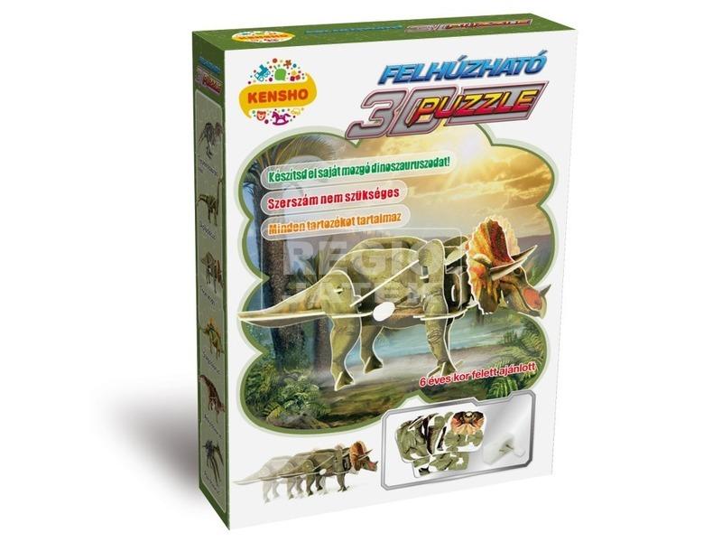 Triceratops dínó felhúzós 3D puzzle