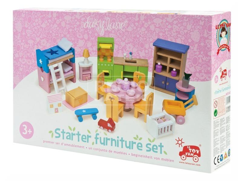 Le Toy Van: Rózsabimbó kezdő fa bababútor készlet