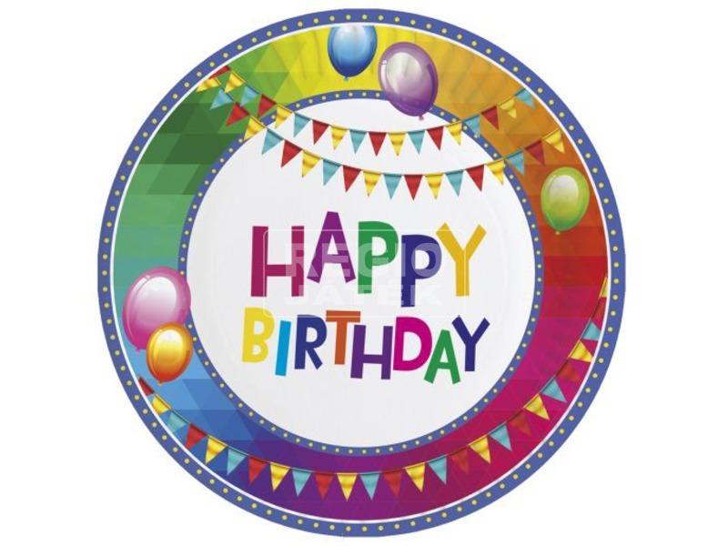Happy Birthday papírtányér 8 darabos - 23 cm