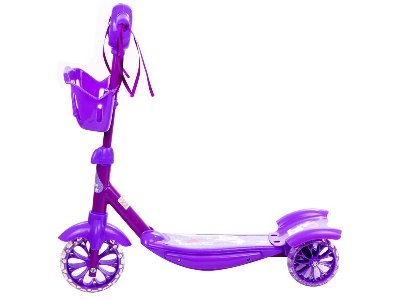 kép nagyítása Háromkerekű roller kosárkával - rózsaszín színű