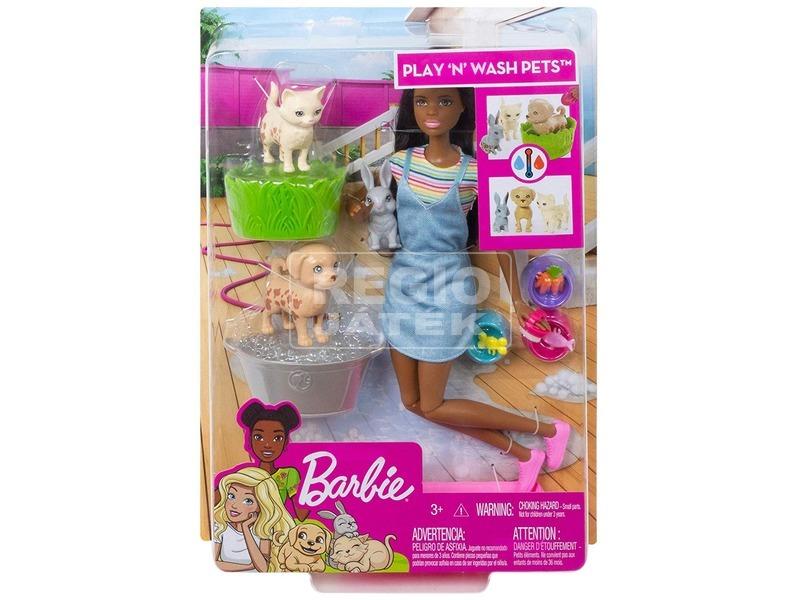 Barbie állatka napközi szett barna babával