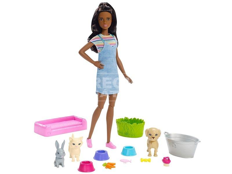 kép nagyítása Barbie állatka napközi szett barna babával