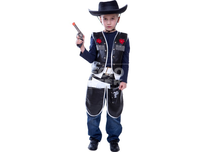 Cowboy jelmez - fekete, 128-as méret