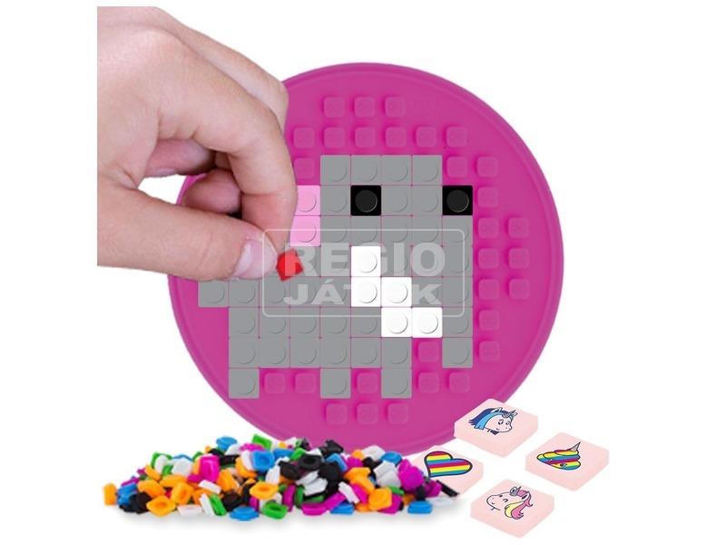 kép nagyítása Pixie kerek öntapadós mozaiklap, rózsaszín, 69 pixellel
